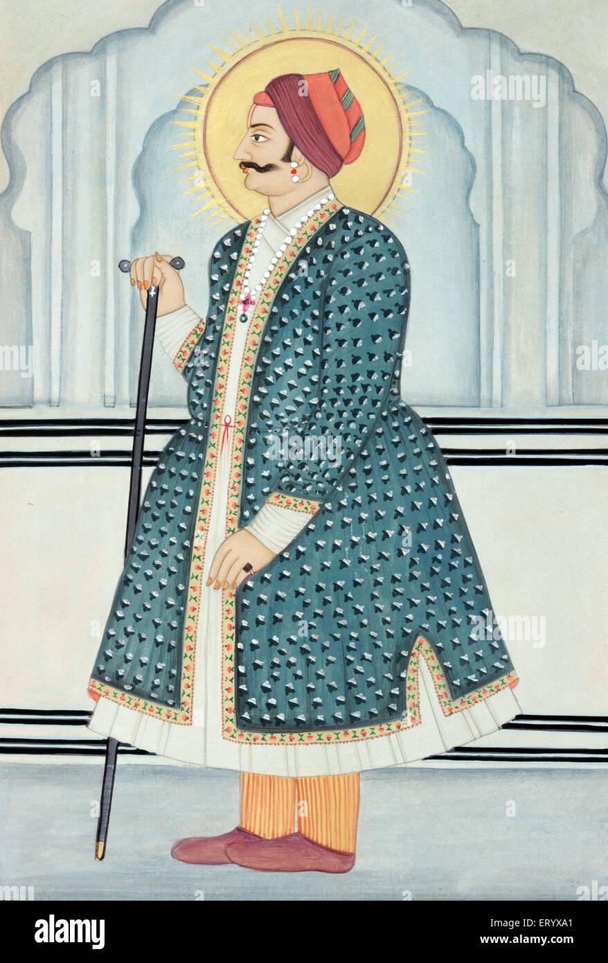 Miniature painting of Maharaja Sawai Jai Singh two Jaipur - Stock Image