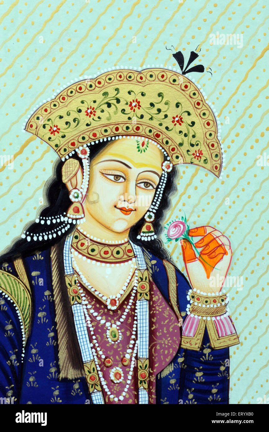Mumtaz Mahal Mughal Queen miniature painting - Stock Image