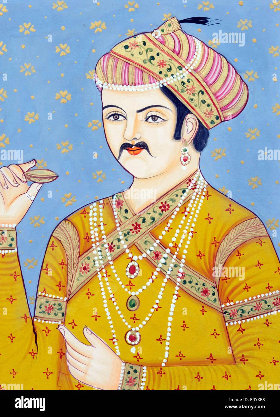 Miniature painting of Mughul Emperor Akbar - Stock Image