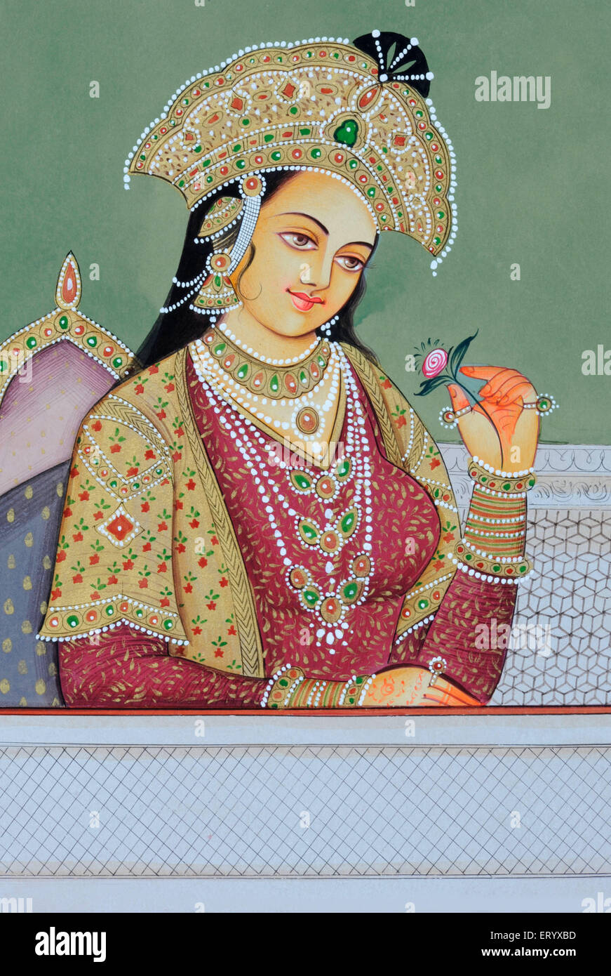 Miniature painting of Mughal Queen Mumtaz Mahal - Stock Image