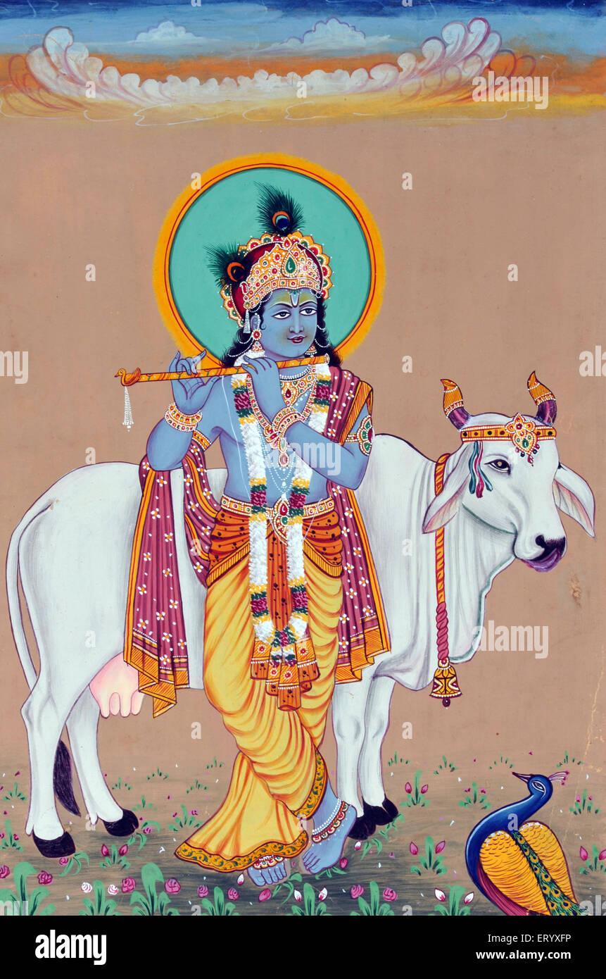 Miniature painting of God  Krishna - Stock Image