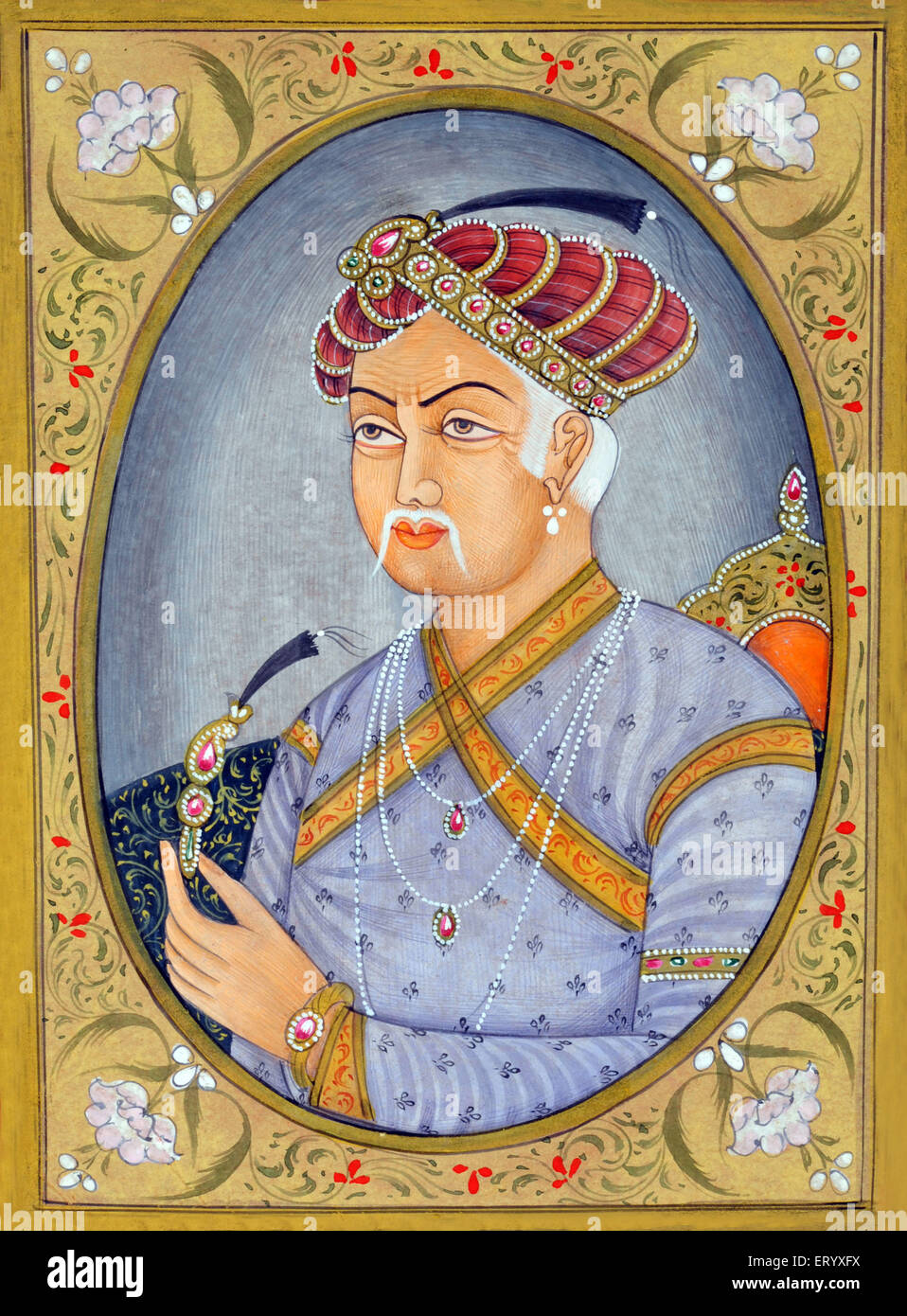 Akbar  Mughul Emperor Miniature painting - Stock Image