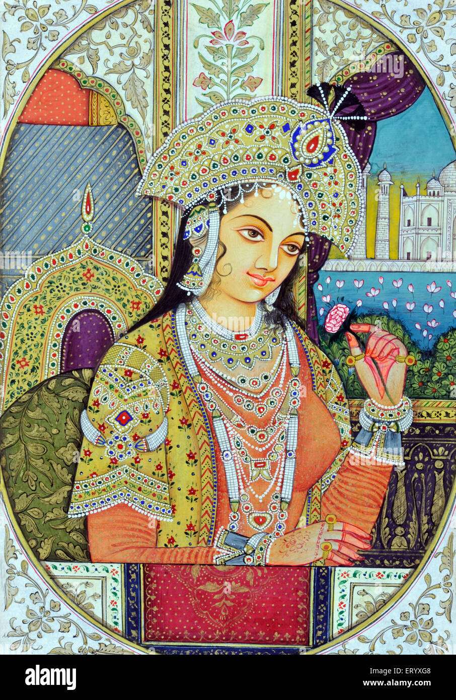 Miniature Painting of Mughul Queen Mumtaz India Asia - Stock Image