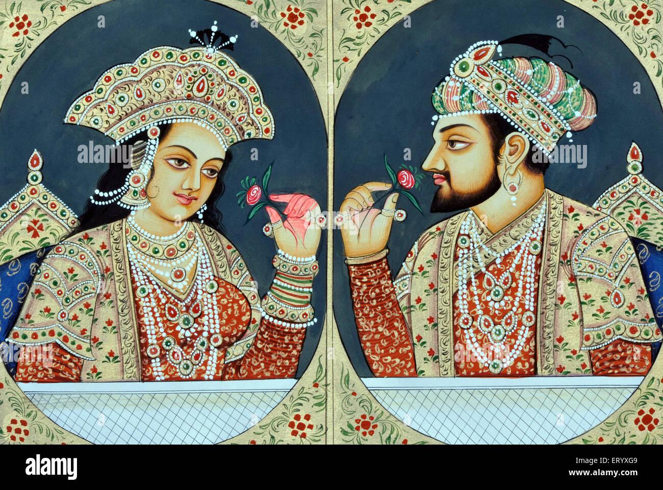 Shah Jahan and Mumtaz Mahal Miniature Painting Stock Photo