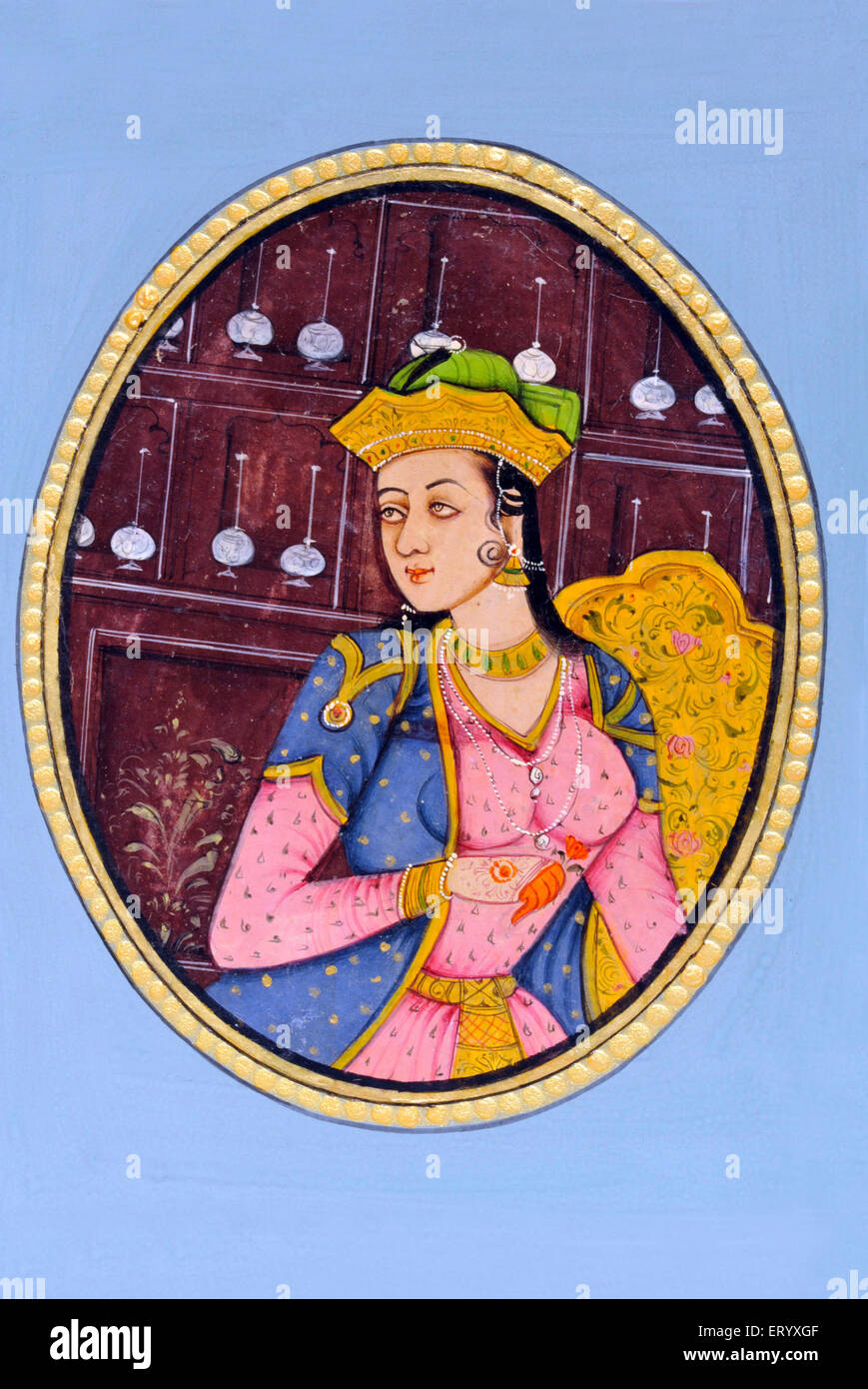 Miniature Painting of Queen Mumtaz Mahal India Asia - Stock Image
