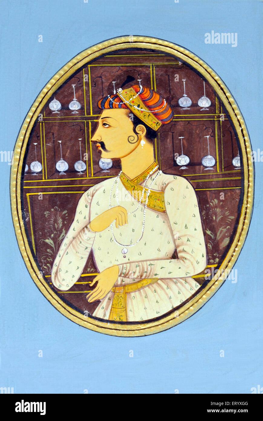 Miniature Painting of Mughul  Emperor Akbar India Asia - Stock Image