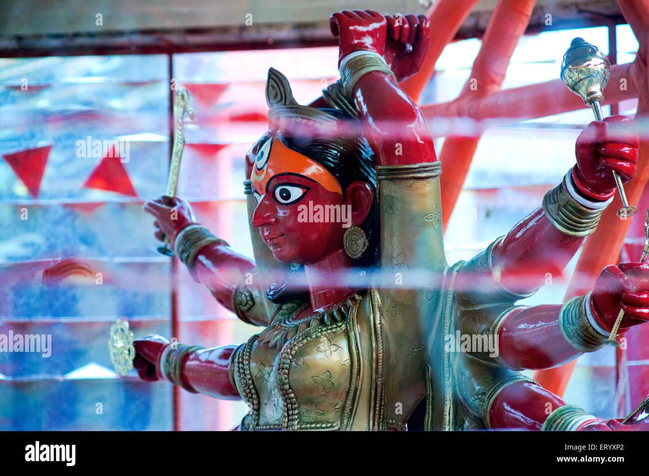 Mother goddess durga as bhima bahyankari ; Calcutta Kolkata ; West Bengal ; India Stock Photo