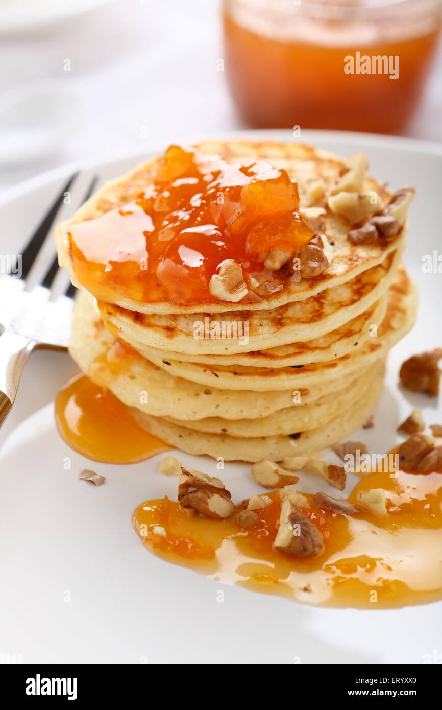 Delicious pancakes on a plate, food - Stock Image