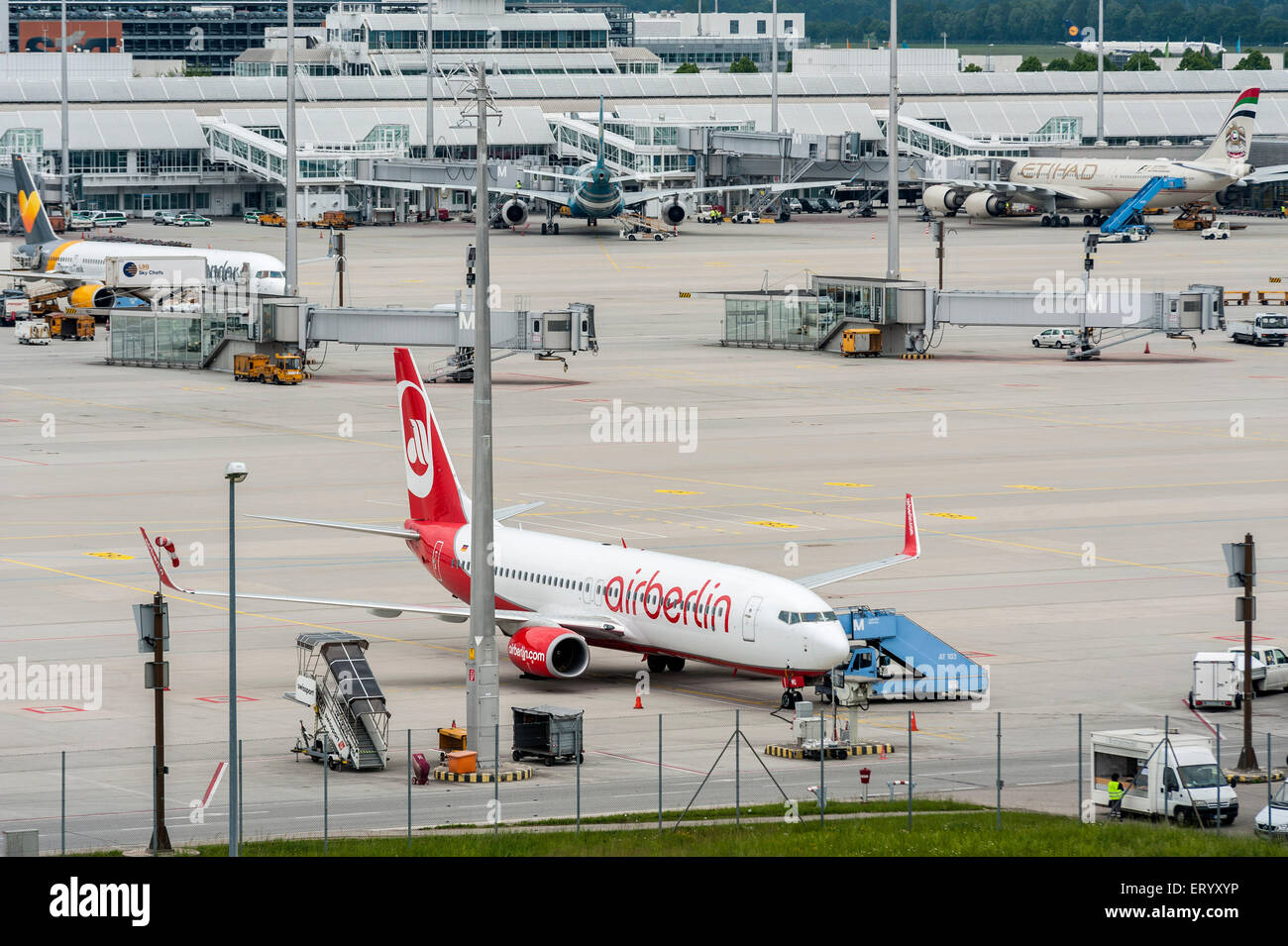 AirBerlin Plane on Munich Airport - Park Position - Stock Image