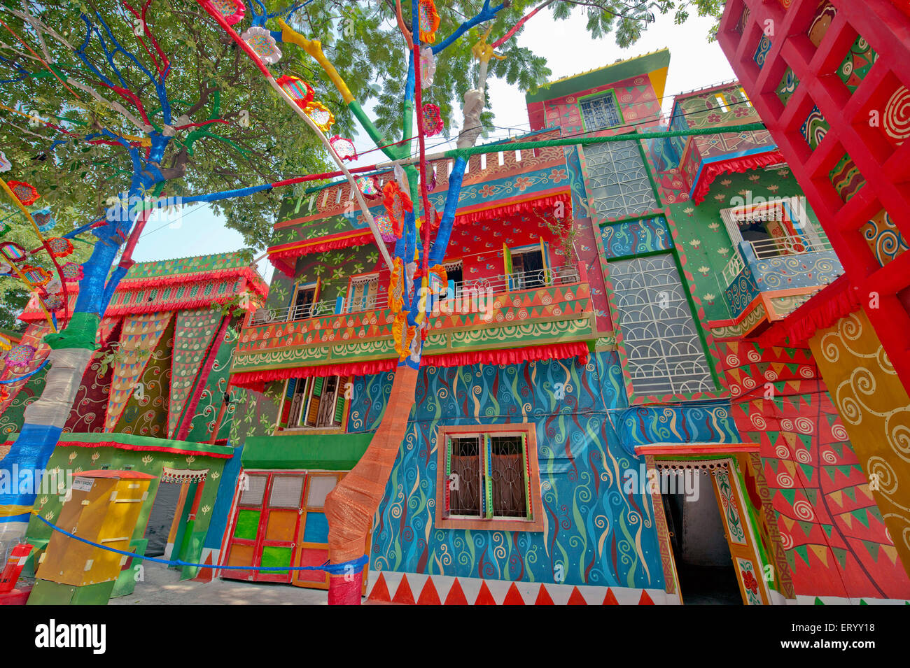 Durga puja decoration kolkata calcutta stock photos durga puja houses near durga puja pandal at kolkata calcutta india stock image altavistaventures Choice Image