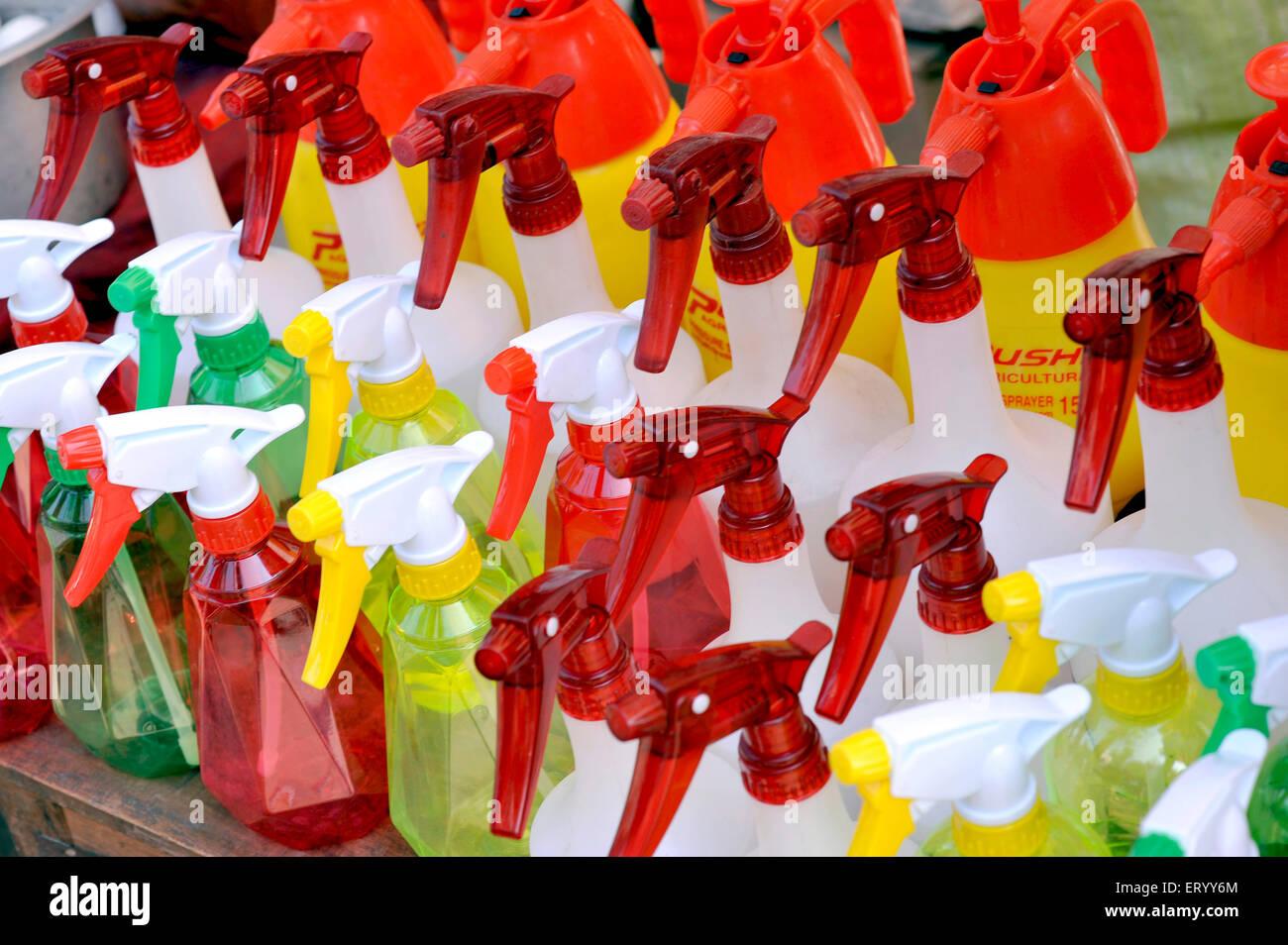 Water sprayer bottles for sale at Galif Street ;Kolkata India - Stock Image