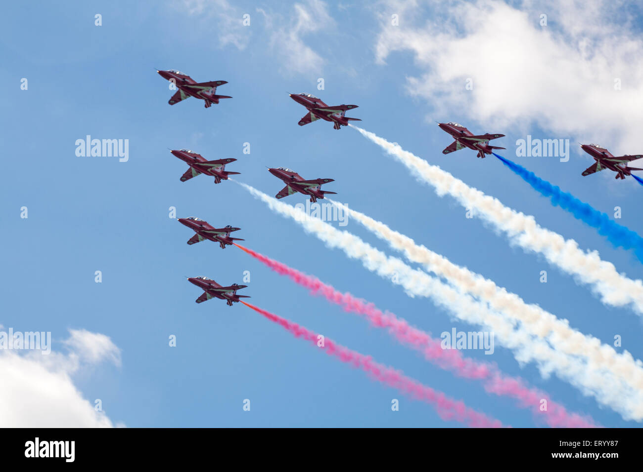 Red Arrows perform at the Bournemouth Air Festival 2014 in August - Stock Image