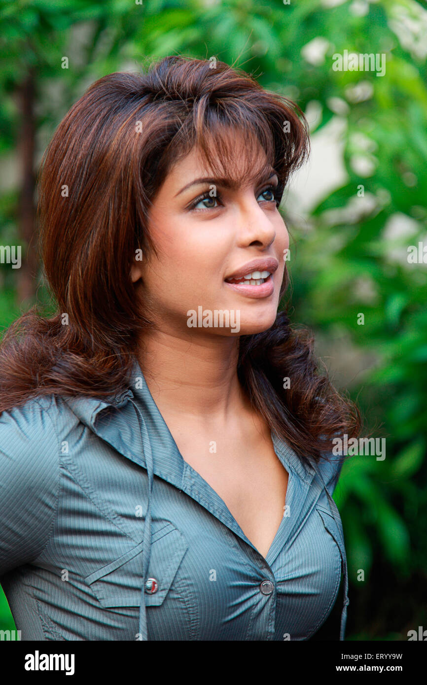 Priyanka Chopra an Indian actress, singer, film producer, philanthropist, and the winner of the Miss World 2000 - Stock Image