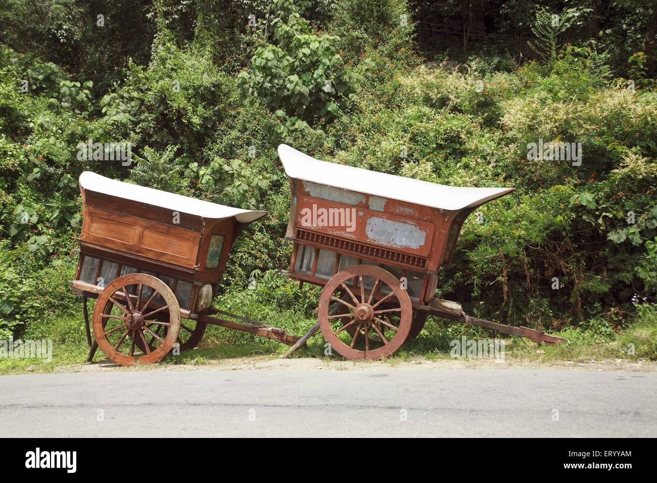 Wooden carts ; Munnar ; Kerala ; India - Stock Image