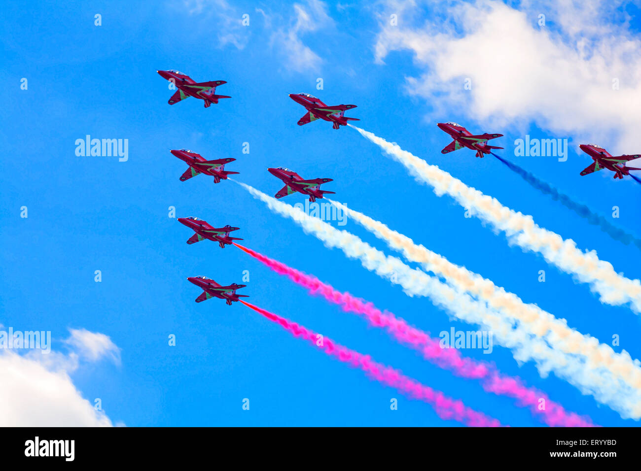 Painterly effect of Red Arrows performing at the Bournemouth Air Festival 2014 in August - Stock Image