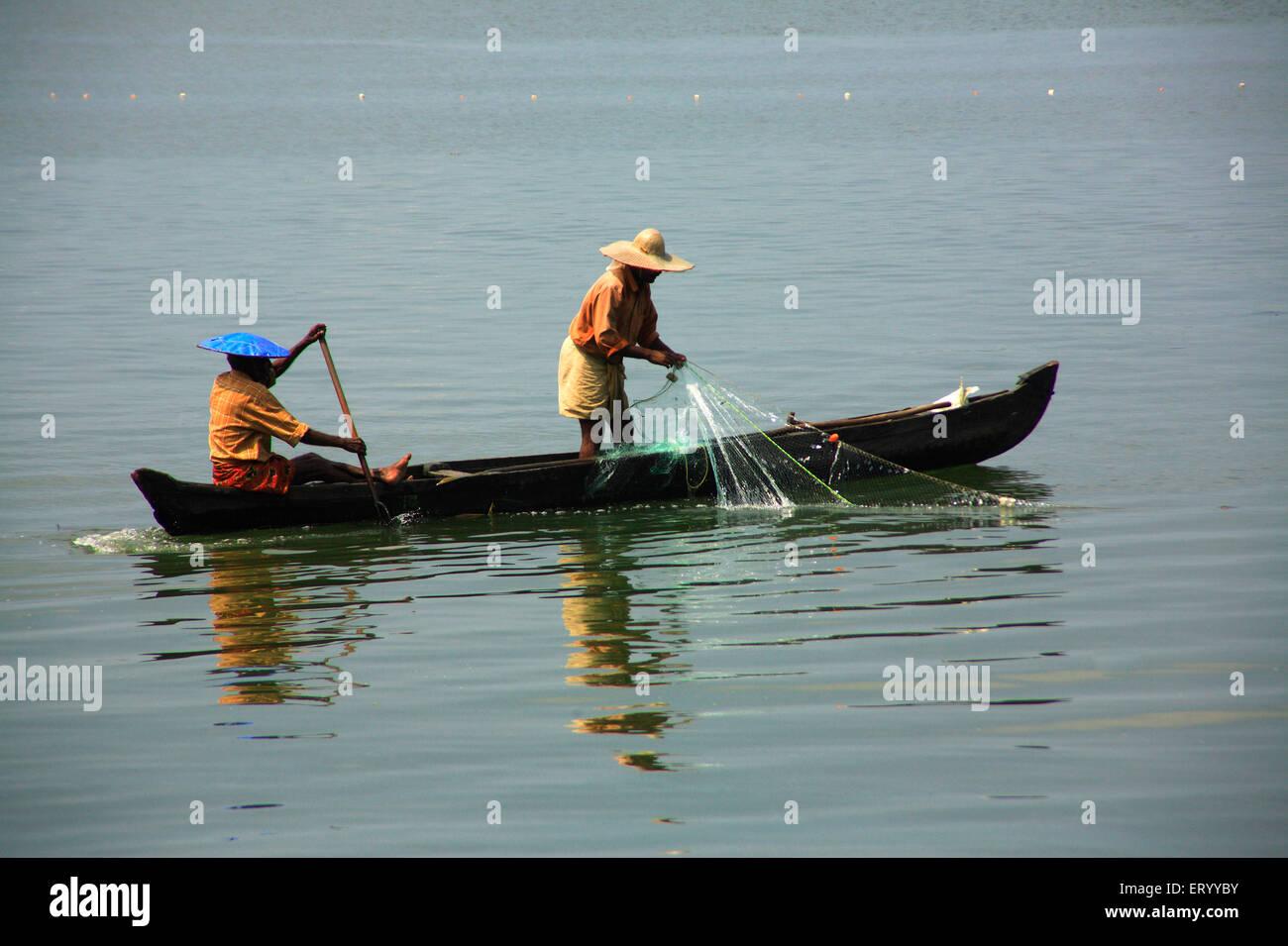 Fishing at Marinedrive ; Kochi Cochin ; Kerala ; India 3 September 2008 - Stock Image