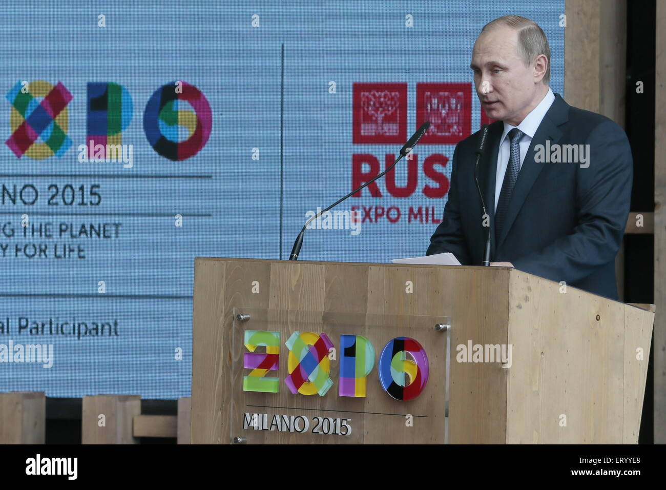 Milan, Italy. 10th June, 2015. Russia's president Vladimir Putin speaks at the opening ceremony for the National - Stock Image