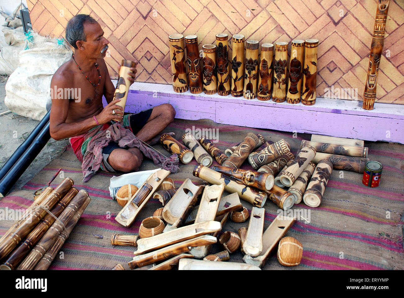 Artist doing bamboo craft of Calcutta Kolkata ; West Bengal ; India NO MR Stock Photo