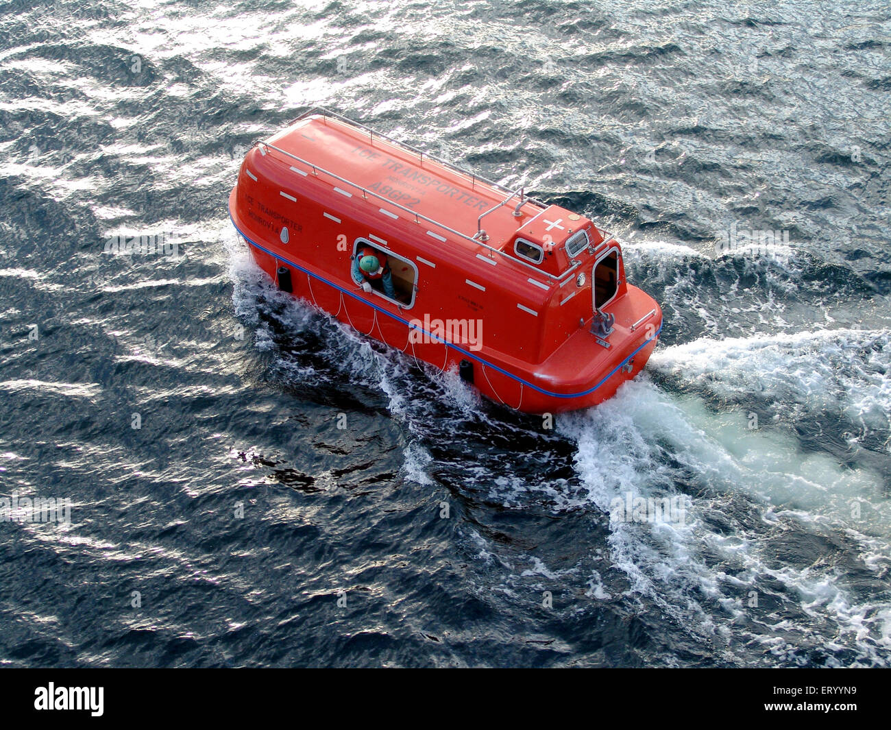 Lifeboat at sealife saving appliances in merchant vessel - Stock Image