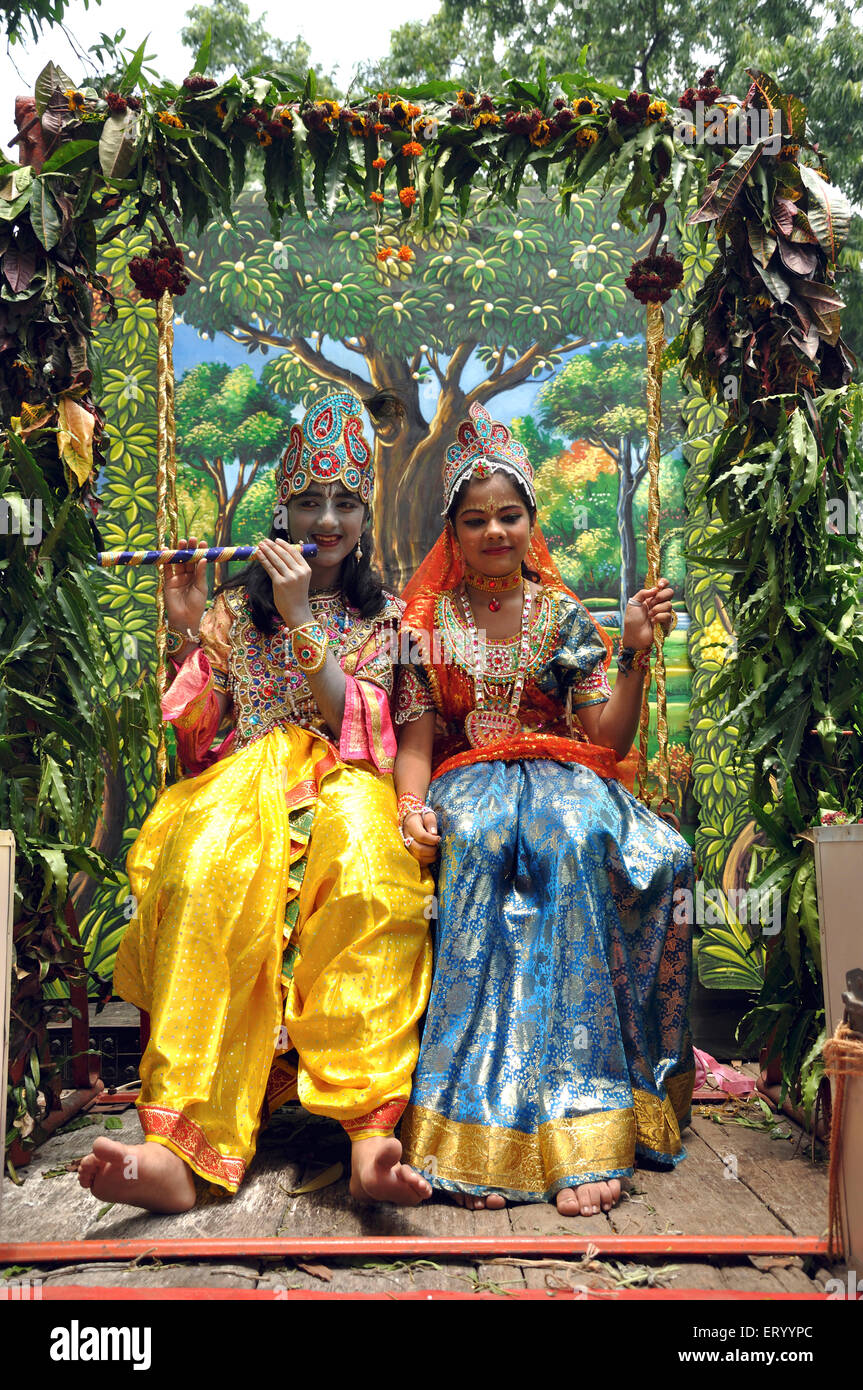 Girl Boy In Radha Krishna Stock Photos & Girl Boy In Radha