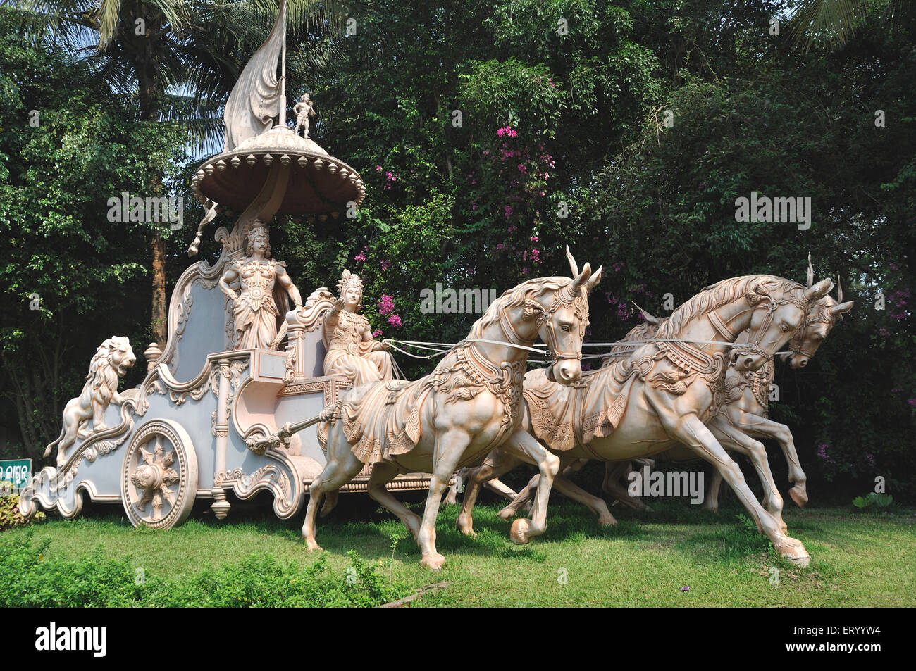 Lord Krishna and arjuna in chariot ; India - Stock Image