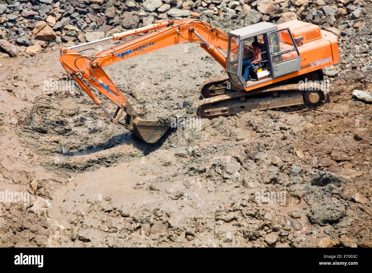 bulldozer construction site haji ali  ; Bombay Mumbai ; Maharashtra ; India - Stock Image