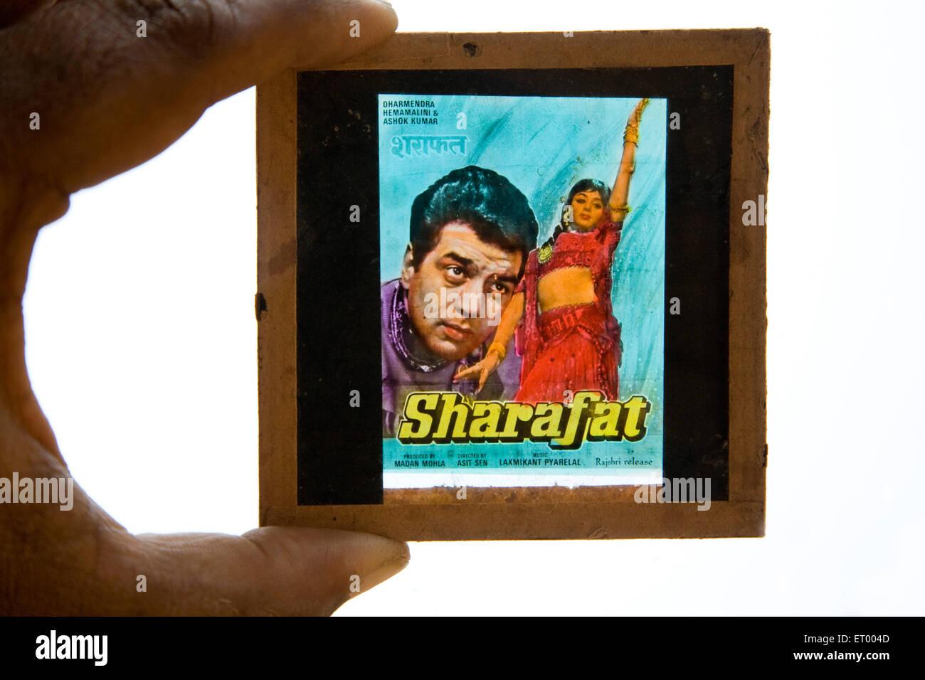 Hindi film sharafat slide actor Dharmendra and actress Hema malini ; India - Stock Image