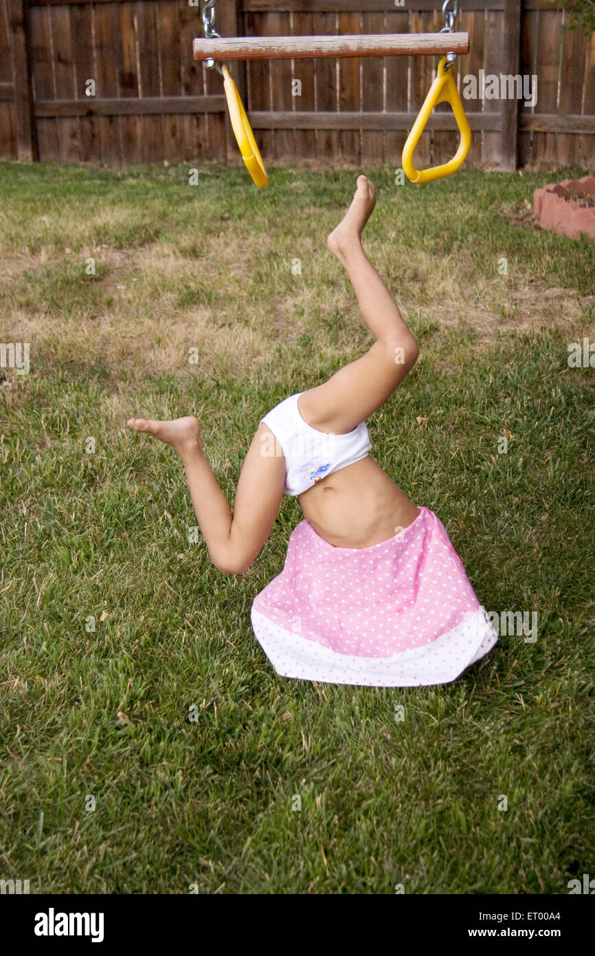 Activity of five year old girl busy in playing MR#543 Stock Photo