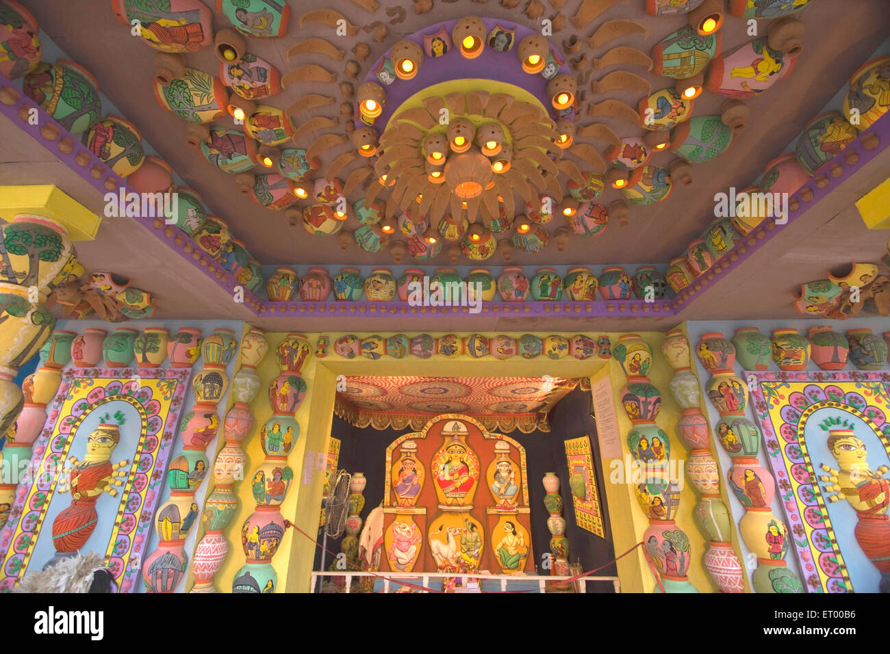 Decorated Mandap And Idols Of Goddess For Durga Puja Kolkata