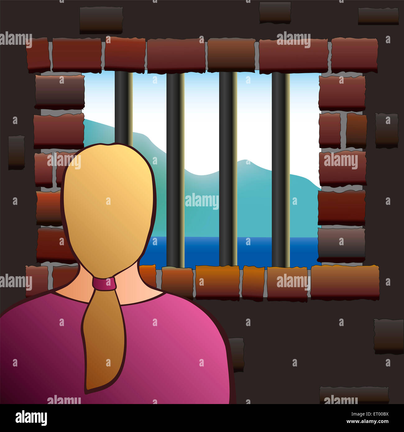 A confined woman is looking out of the barred window of a jail. - Stock Image