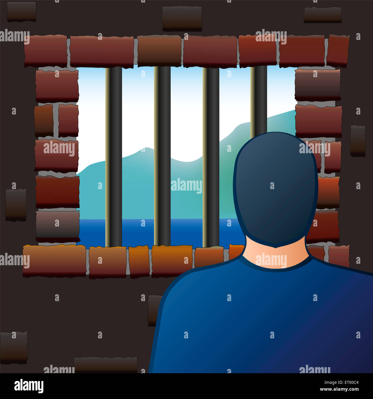 An arrested man is looking out of the barred window of a jail. - Stock Image