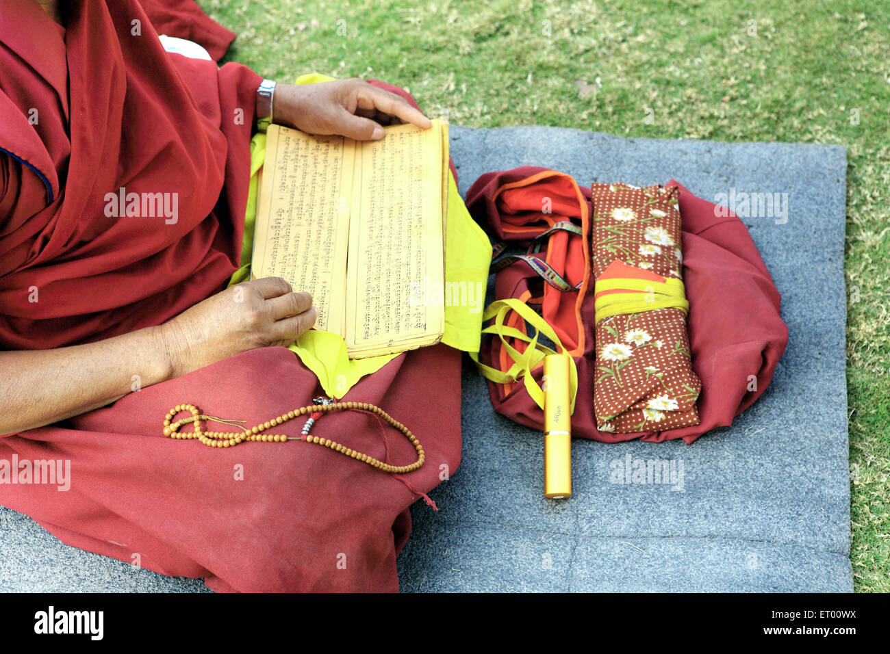 Buddhist monk reading scriptures ; Sanchi ; Madhya Pradesh ; India - Stock Image