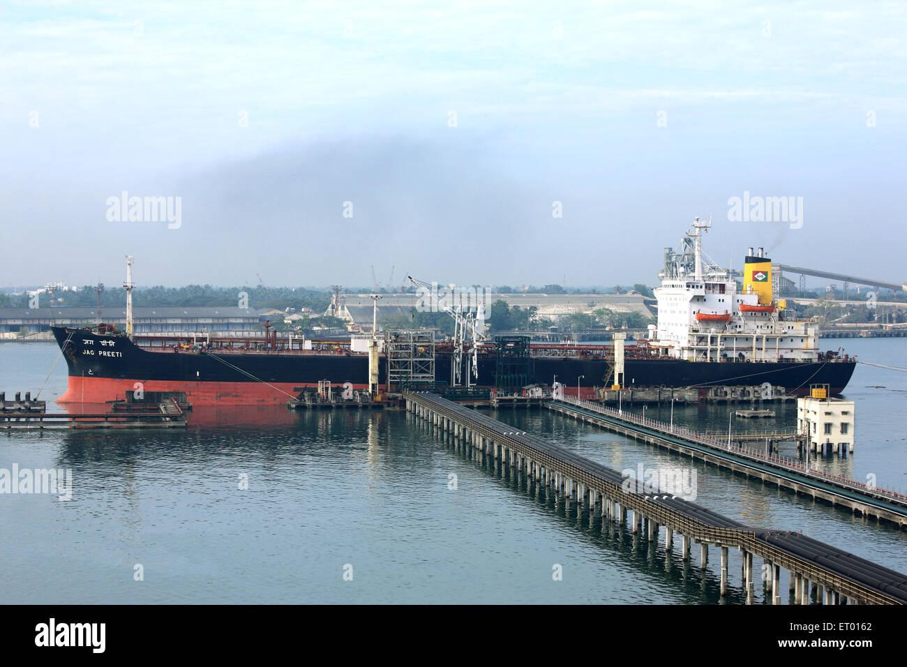 Oil tanker unloading at oil jetty of Cochin Kochi harbour