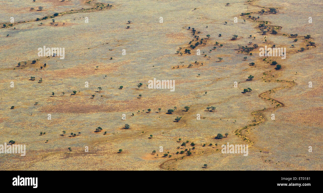 Aerial view of Australia's dry, outback, near Longreach, Queensland. - Stock Image