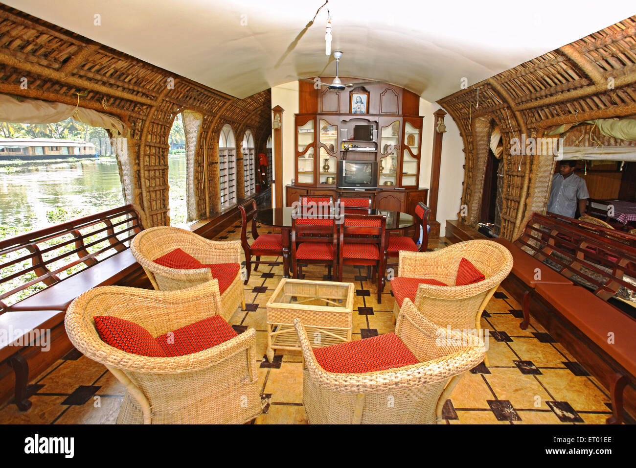 Luxurious lounge in houseboat in backwaters ; Alleppey Alappuzha ; Kerala ; India - Stock Image