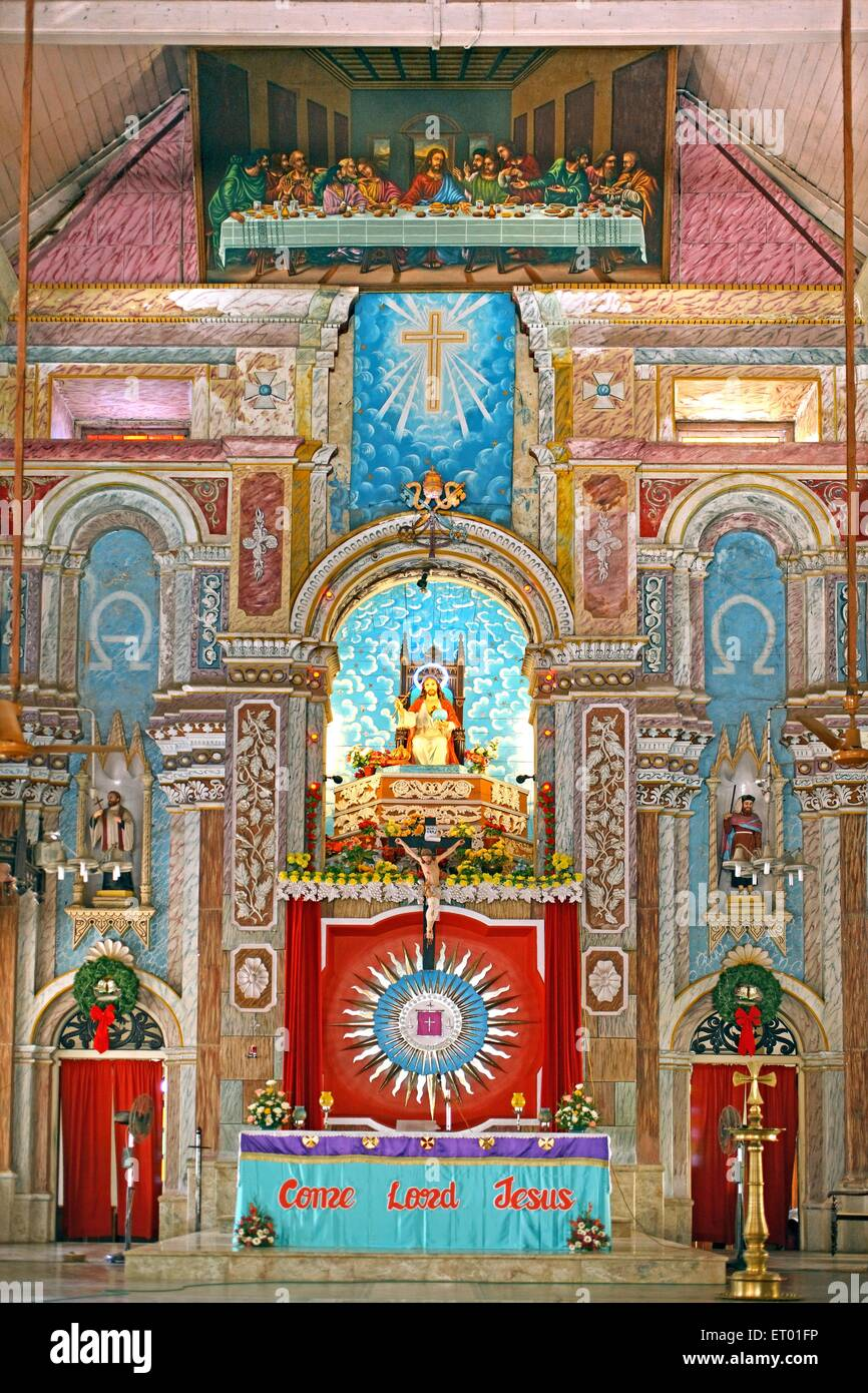 Alter with mural in santa cruz catholic cathedral ; Cochin Kochi ; Kerala ; India - Stock Image