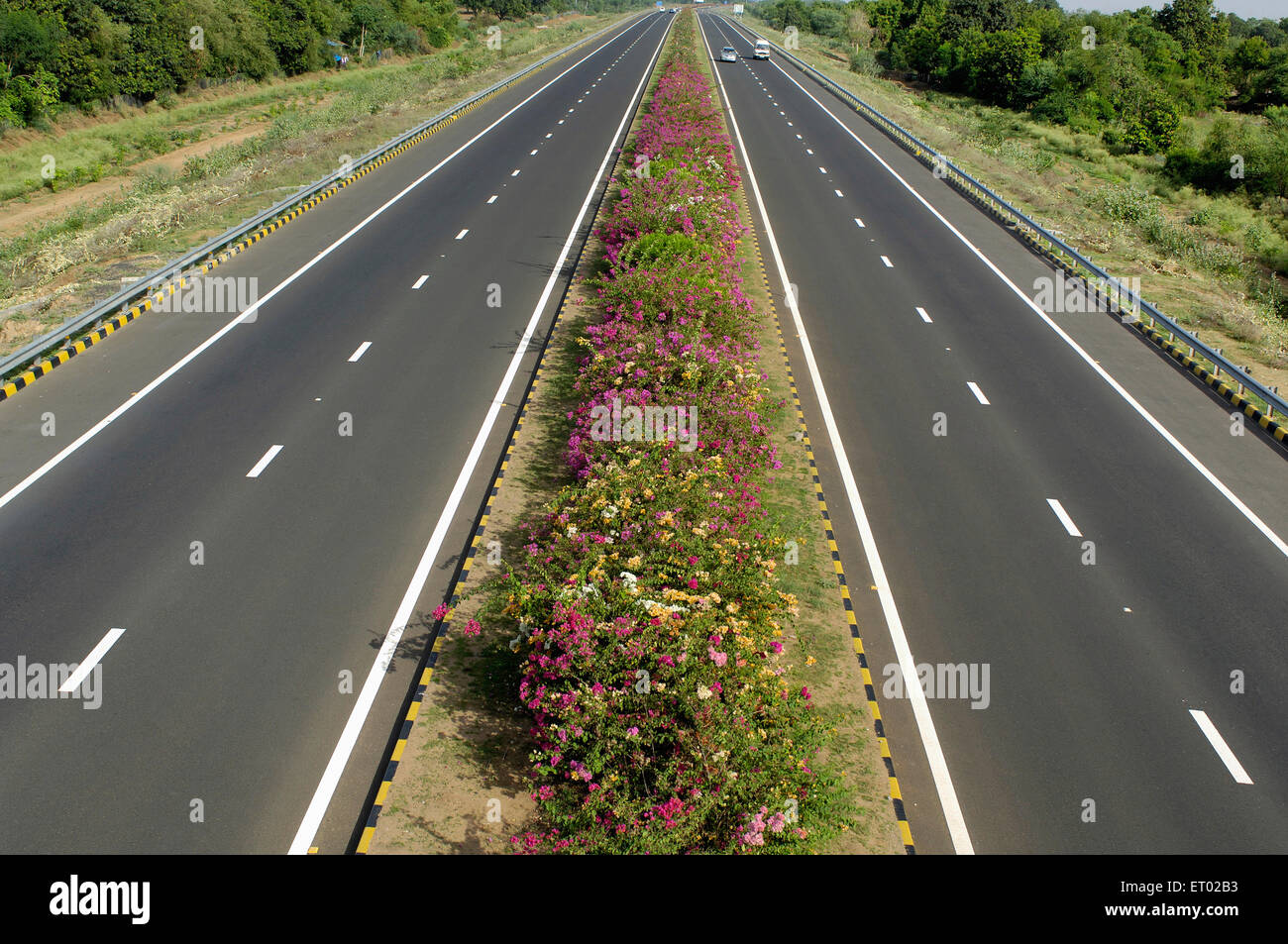 Ahmedabad Vadodara Expressway with flowers bed National Highways Authority of India Gujarat India Stock Photo