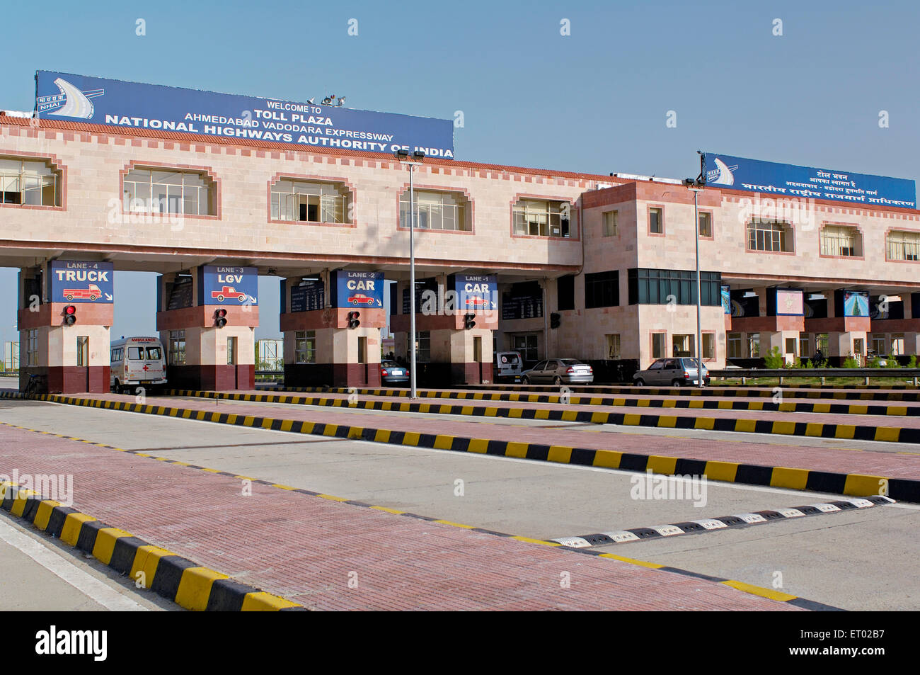 Toll plaza at Ahmedabad Vadodara Expressway National Highways Authority of India - Stock Image