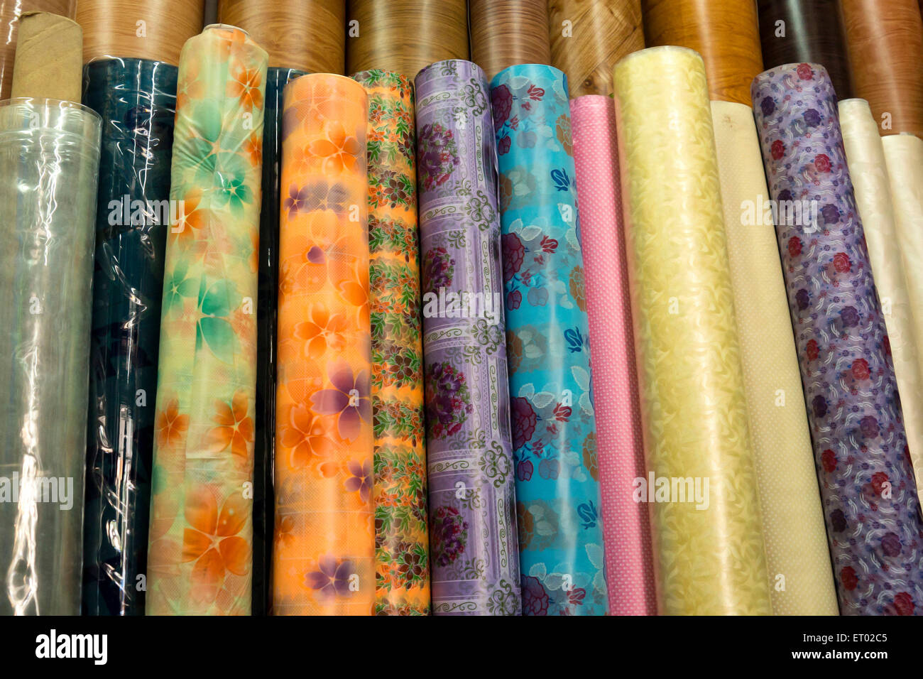 PVC Shower Curtain rolls India Asia - Stock Image