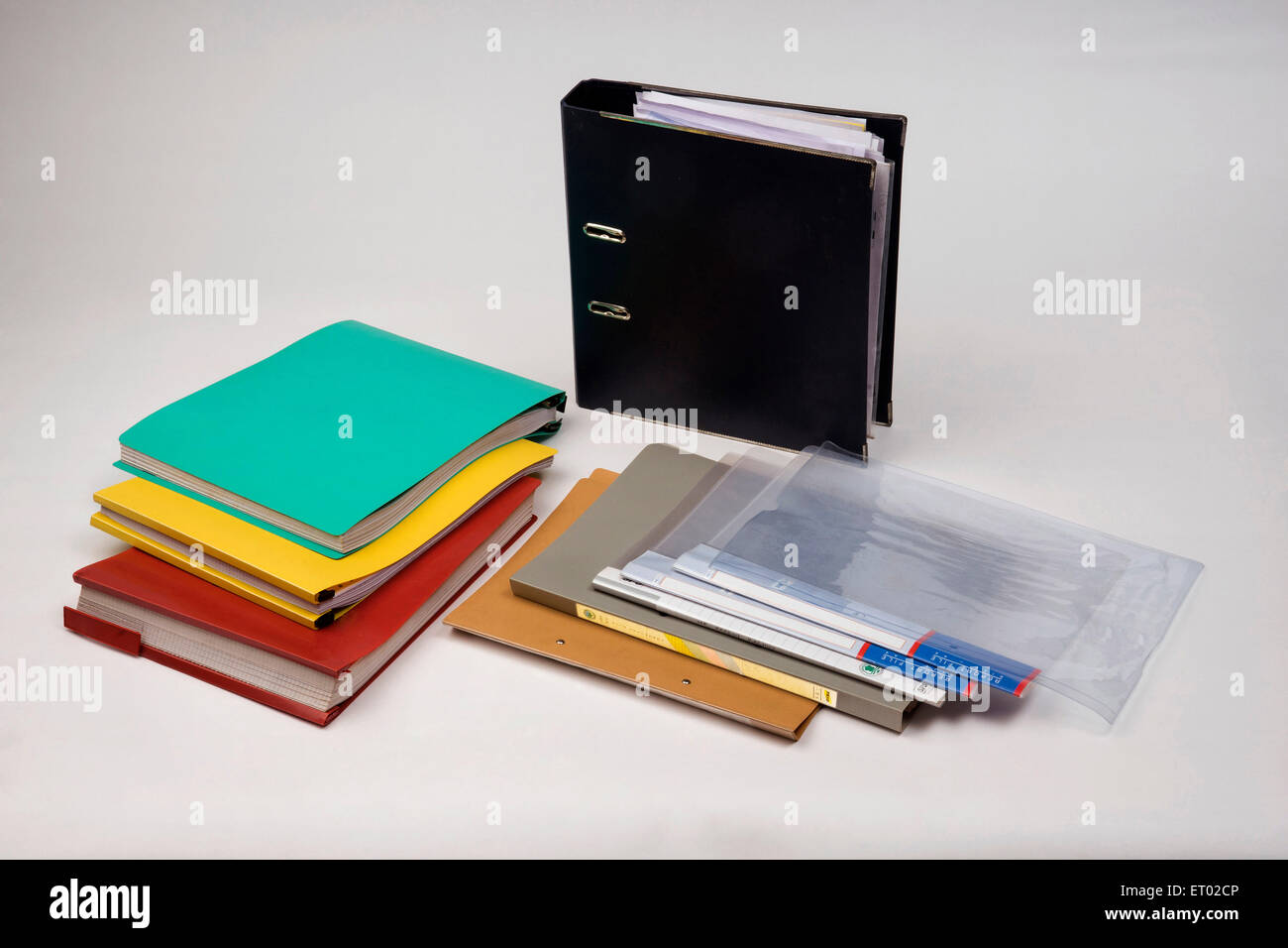 PVC Files and Folders India Asia - Stock Image