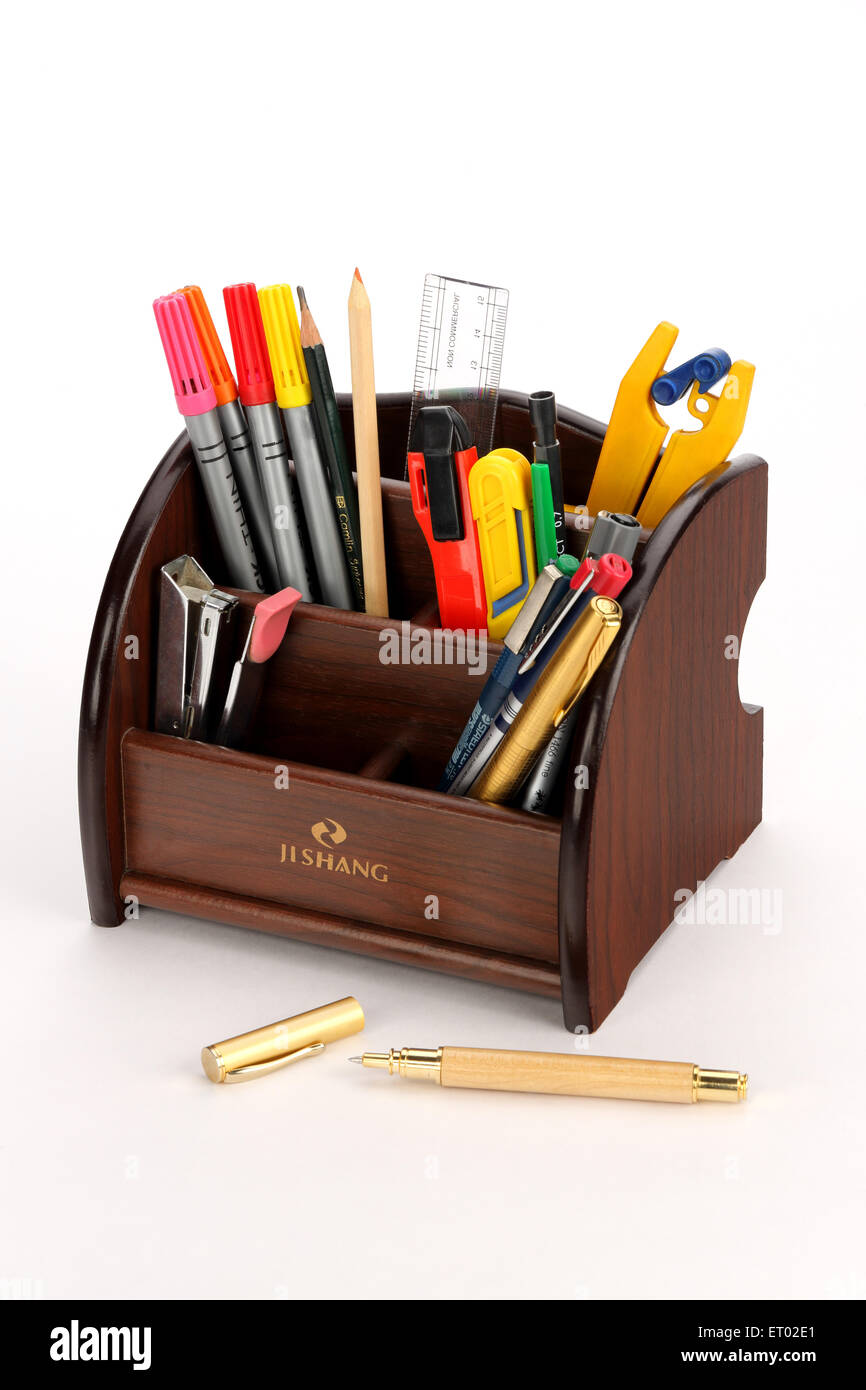 PVC Wood Stationary Stand India Asia - Stock Image