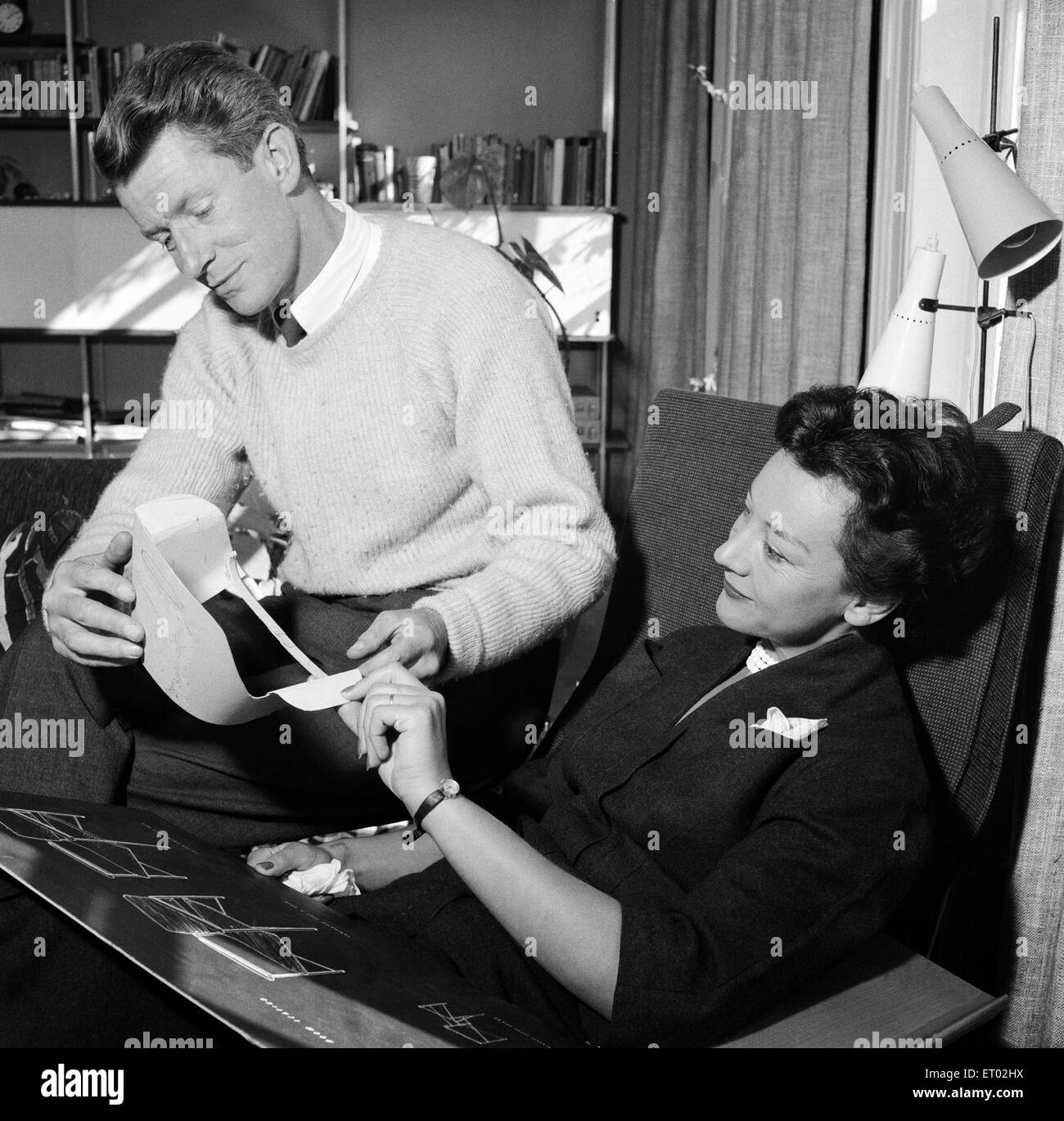 Designer Robin Day, a British chartered industrial and furniture designer with his wife, the textile designer Lucienne - Stock Image