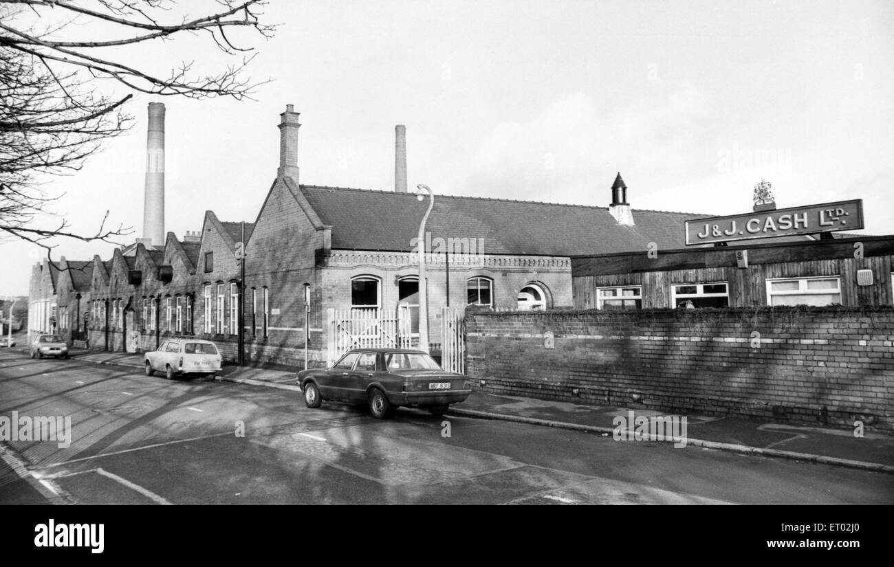 J. J. Cash Ltd at Kingfield Road, Coventry, West Midlands. 12th January 1981. - Stock Image