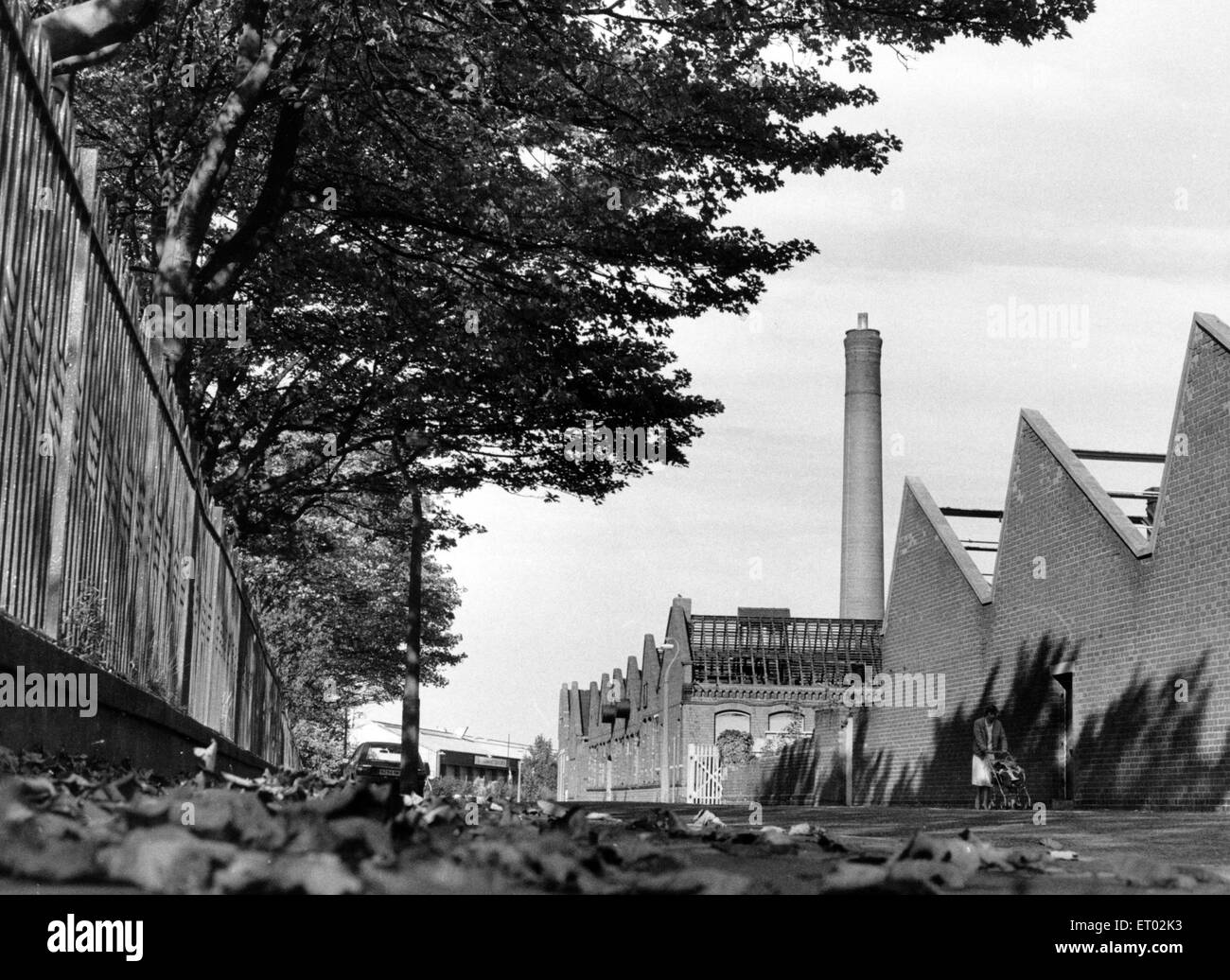 Demolition at J. J. Cash Ltd. 17th October 1985. - Stock Image
