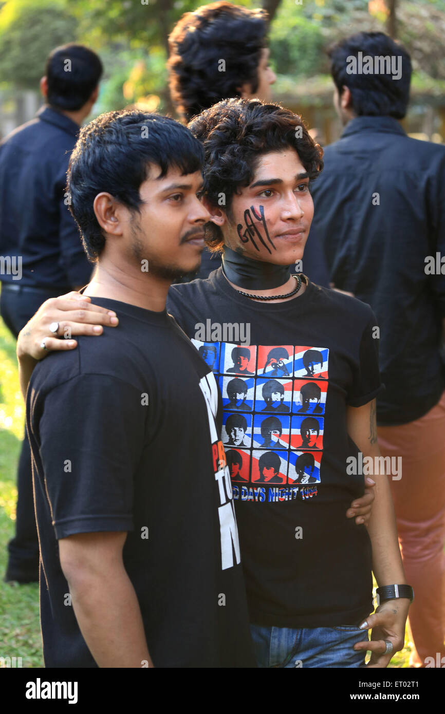 gay protesting against Supreme Court Maheshwari Udyan Matunga Mumbai Maharashtra India 15th December 2013 - Stock Image