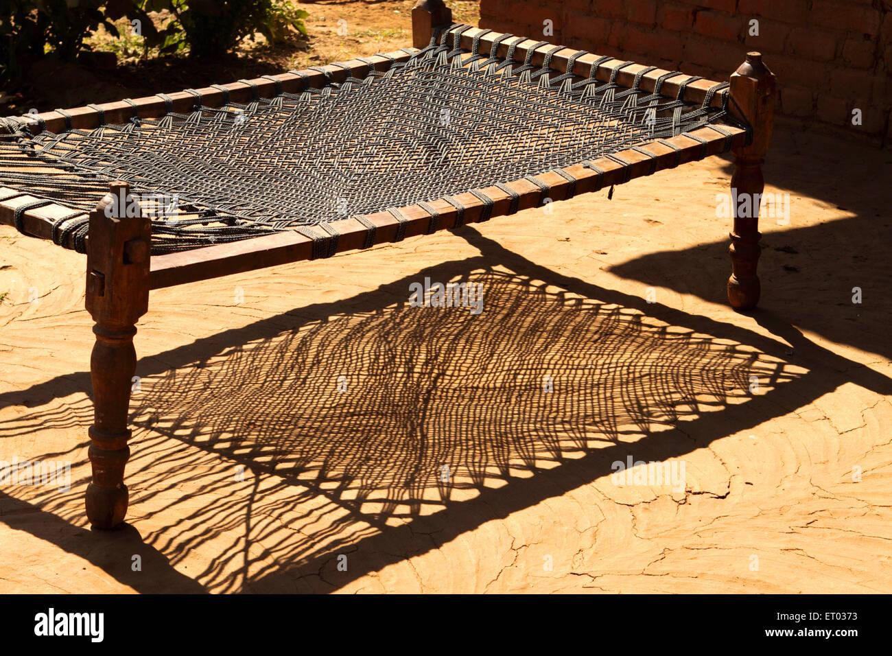 Wooden cot khatiya ; Nadiad ; Gujarat ; India - Stock Image