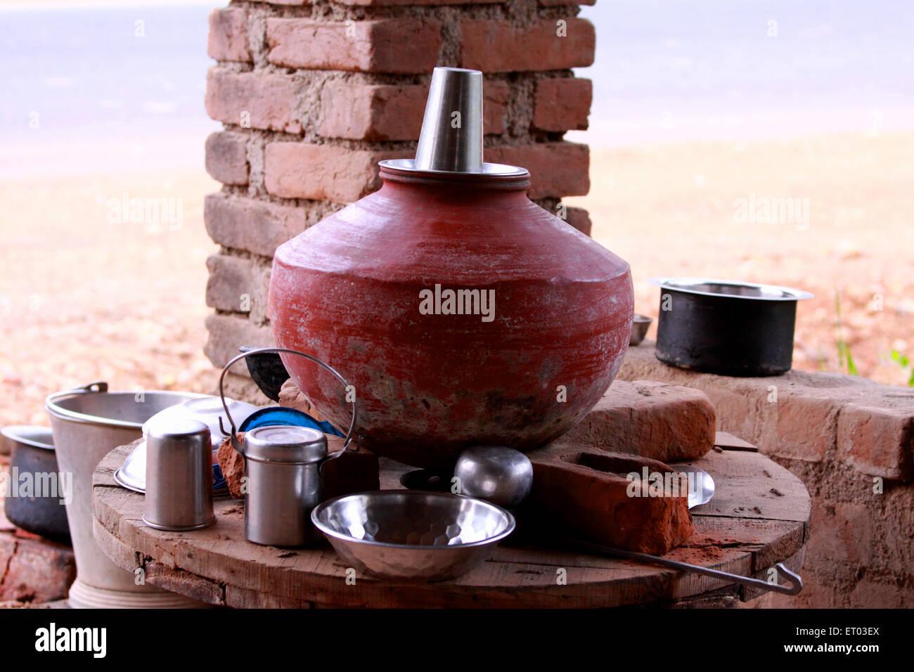 Earthen pot ; Nadiad ; Gujarat; India - Stock Image