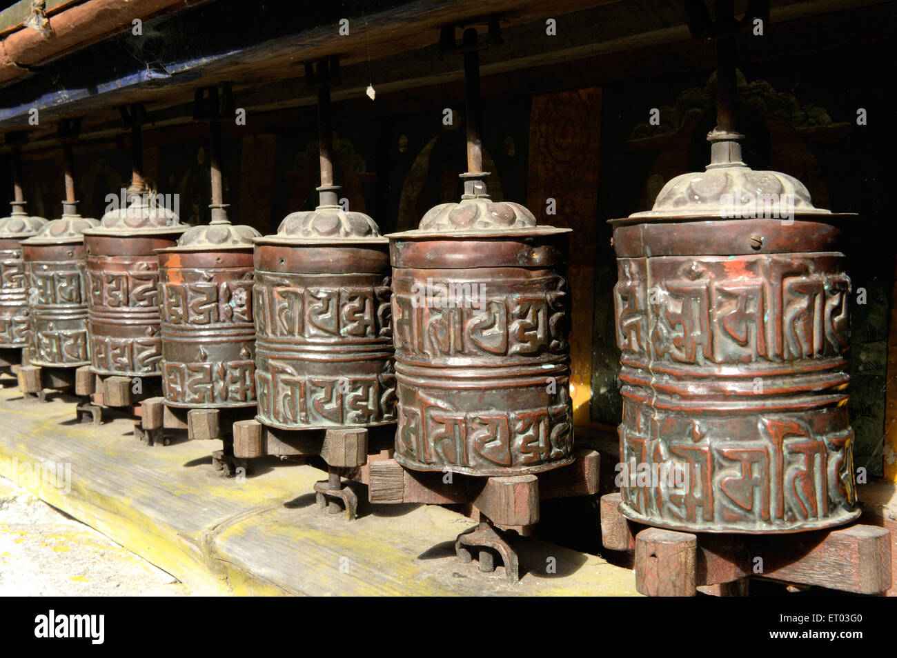 Prayer wheels inscribed with mantra in Bagarchhap ; Nepal - Stock Image