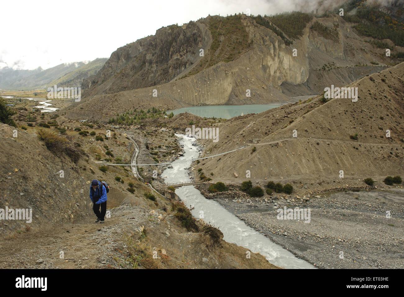 Trekker ; Manag ; Nepal - Stock Image