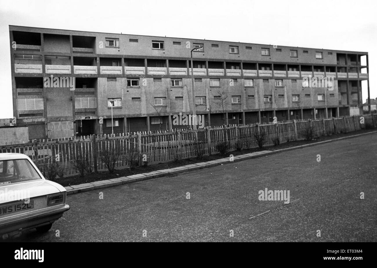 Whitfield Square, meant to be a dream suburb but came out as a nightmare. 14th December 1975. - Stock Image